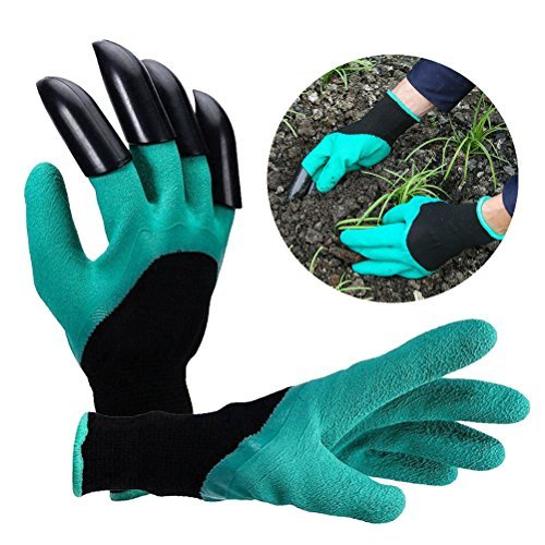 Itian Wasserdicht Gartenhandschuhe langlebig stichsichere Safe Gartenarbeit Handschuhe mit ABS-Kunststoff krallen für Haushalt und Garten Werkzeug handschuhe [1 Paar grün/schwarz]
