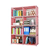 Gokiu Bookshelf Combination Cabinet Fabric 8 layers Bookcase Children for rooms from living areas,Kids rooms,closet or entryway,pink
