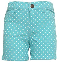 Little Girls Turquoise White Polka Dotted Pattern Tie Bow Waist Shorts 5