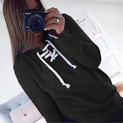LHWY Damen Herbst-lange Ärmel Pullover Schnür Tops Bluse Casual Sport T-shirt Schwarz