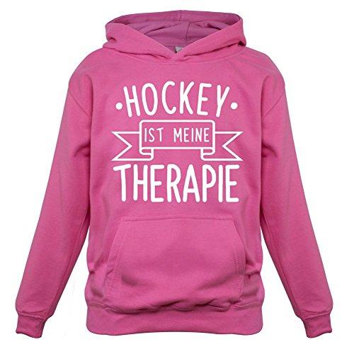 Hockey ist meine Therapie - Kinder Hoodie/Kapuzenpullover - Rosa - XL (9-11 Jahre) (Schienbeinschützer Bekleidung)