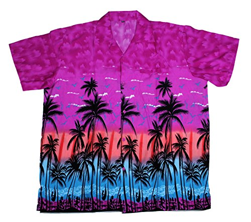 SAITARK Mens Hawaiian Shirt Stag Beach Hawaii Aloha Party Summer Holiday Fancy Palm