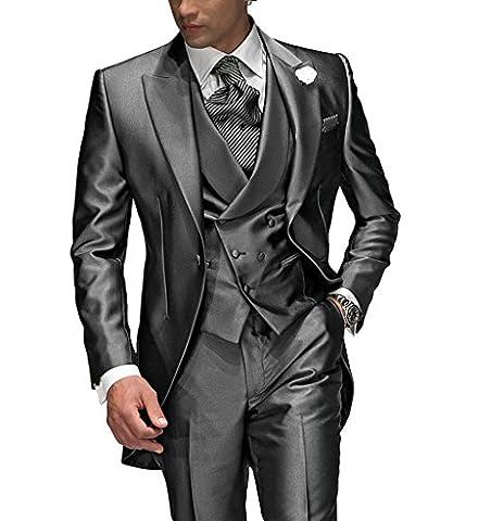 Suit Me Tailored Herren 3-Teilig Anzug Fuer Hochzeiten Party Smoking Anzug Sakko,Weste,Hose Grau L