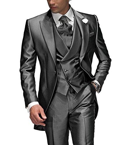 Suit Me Tailored Herren 3-Teilig Anzug Fuer Hochzeiten Party Smoking Anzug Sakko,Weste,Hose Grau