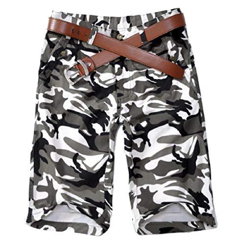 CuteRose Mens Camouflage Color Straight Leg Half Pants Combat Karate Pants White 30 -