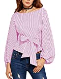 Minetom Femmes Casual Chemise T Shirt Manche Longue Col Rond Waist Bowknot Bandage Blouse Chemise Haut Top Tee Shirt Pink FR 38