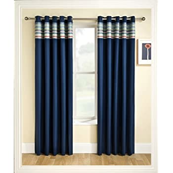 Ready Made Eyelet Thermal Blackout Curtains With Co Ordinating Aztec Detail  Panel. Colour And