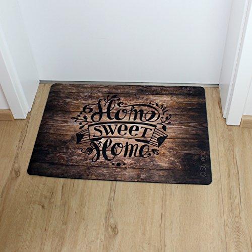 Fußmatte außen und innen Tür-Matte mit Spruch Home Sweet Home Stilingo Fußabtreter Vorleger drinnen und draußen 70 x 50 cm - 6