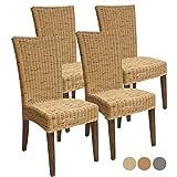 Rattan-Stuhl-Set Cardine, 4 Stück Esszimmer-Stuhl Korbstuhl weiß oder braun Kissen ohne Sitzkissen, Farbe Basalt grau