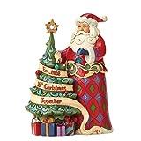 Enesco Heartwood Creek Babbo Natale Commemorativo con Albero e Cristallo, 23.5 cm, Resina,, 20x20x23.5 cm