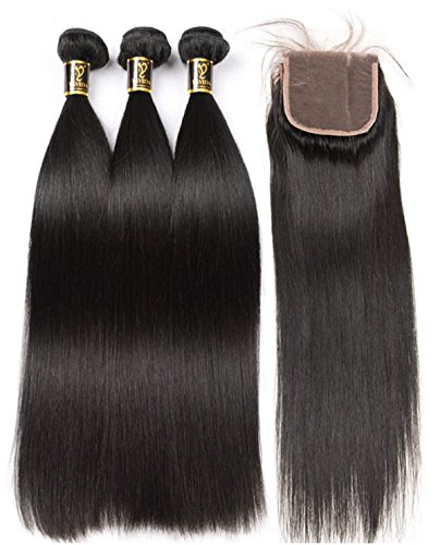 Yavida Human Hair Bundles with Closure 22 24 26+20 Inch Brazilian Hair Waves Echthaar Extensions Brasilianische Menschliche Haare Straight Hair with Lace Closure Brasilianisches Human Hair