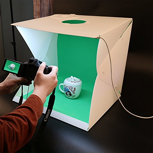 16 Zoll LED Fotostudio Set , bewegliches faltbares Studio-helles Zelt mit Oberseiten-Loch Foto-Studio-Zusätzen durch YIGER- 35PCS LED-Lichter + 4PCS Hintergrund Tuch (schwarzes weißes rotes Grün) (16