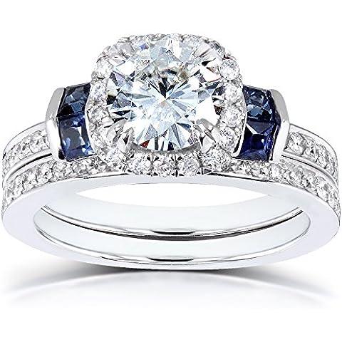 Forever One Moissanite & diamante, blu zaffiro, Set da 1, 3, 4 CTW in oro bianco 14 k - Moissanite Diamante Zaffiro