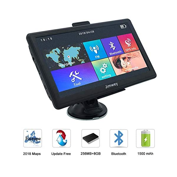 SAT NAV Satellite GPS Navigation System, Jimwey 7 inch Bluetooth 8GB 256MB Car Truck Navigator Device with Post Code Search Speed Camera Alerts, pre-loaded Latest 2019 EU UK Maps Lifetime Free Updates 51WNdu6NXHL