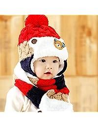 HuntGold ours mignon bébé hiver rayé laine chapeaux chaud oreillette avec écharpe rouge