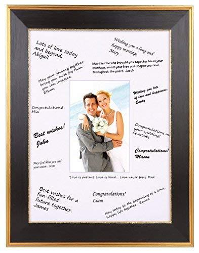 Space Art Deco Classic Gold Design Schwarz Rahmen-Weiße Matte für Hochzeit Signatures-Für 12,7x 17,8cm Bilder-Staffelei für Tischplatte-Zackenaufhänger-Wandhalterung-Glas 11x14 -