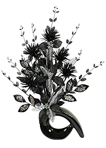 Black Diamante Glitter Artificial Flower in Black Vase, Table Decorations, Home Accessories, Window Ornament, Living Room Flowers, Height