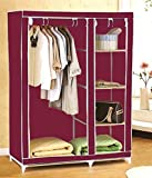 CheckSums (11990) 3.5 feet Folding Wardrobe Cupboard Almirah Foldable Storage Rack Collapsible Cabinet-Wine Red