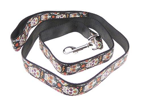 Funky Retro Rainbow schwarz Farbe Inka Maya Stil Totenkopf Nylon Hundehalsband (Warme Halloween-kostüm Ideen)