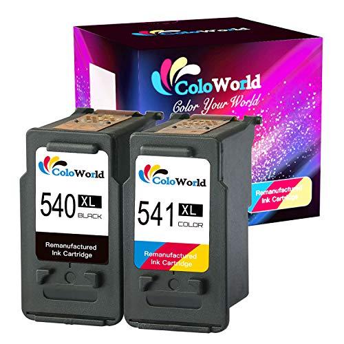 ColoWorld Wiederaufbereitet 540XL 541XL Ersatz für Canon PG-540 CL-541 XL Druckerpatronen für Pixma MG2150 MG2250 MG2255 MG3100 MG3150 MG3155 MX375 MX395 MX435 MX455 MX475 (1 Schwarz 1 Farbe)