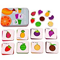 Wooden Jigsaw Puzzle Set for Kids - Cartoon Cognitive Puzzle Matching Game - Home Education and Early Development Cognitive Card Toy - Vegetables Fruits Animal Dinosaur Matching Puzzle