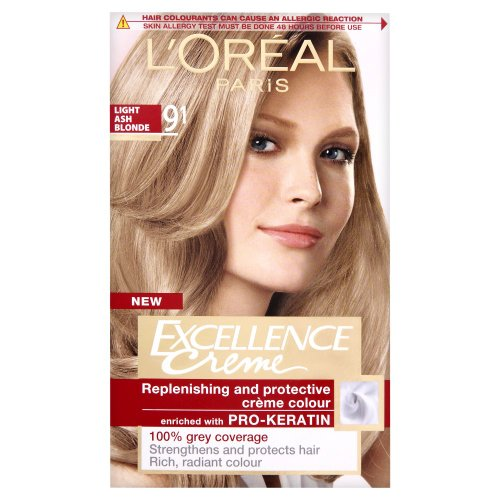 Haarfarbe Blonde Ash (L'Oreal Excellence Permanent Hair Colour 9.1 Light Ash Blonde)