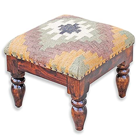 Homescapes Upholstered Kilim Small wooden Footstool, End Table Green Traditional Hand Woven Wool Rug Cover 40 cm