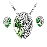Swarovski Elements 18K White Gold Plated Jewelry Set Encrusted With Green Swarovski Crystals and Matching Earrings, SWR-416
