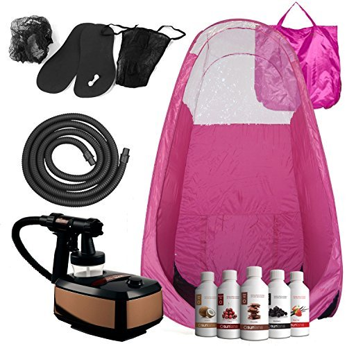 Aura Allure Spray Bräunungs komplettes Set mit rosa Zelt frei Suntana Solutions (Rauschunterdrückung Spray)