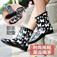 ZHAOXIANGXIANG Rain Boots,Wellington Boots Rubber Rain Boots Retro Ladies Waterproof Shoes Slip On Woman Wellies Rain Boots Shoes Size 35-40,White Butterfly Pattern