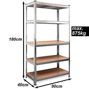 schwerlastregal 875kg 5 lagen regal lagerregal kellerregal steckregal werkstattregal. Black Bedroom Furniture Sets. Home Design Ideas