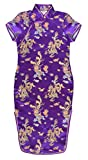 Robe chinoise Qipao enfant fille violette motif dragon - 8 ans