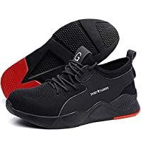 Safety Shoes Men Women,Lightweight Comfortable Mesh Breathable Steel Toe Industrial Construction Slip Resistant Shoes