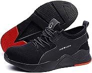 Safety Shoes Men Women,Lightweight Comfortable Mesh Breathable Steel Toe Industrial Construction Slip Resistan