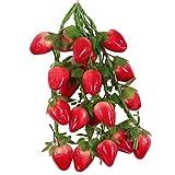 FITYLE 5er-Set Künstliche Früchte Dekoobst Kunstobst Obstsorten Spielzeug, 14 verschiedene Obst - Erdbeeren