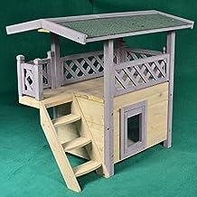 Casa de campo de madera para gatos al aire libre, condominio ideal para gatos,