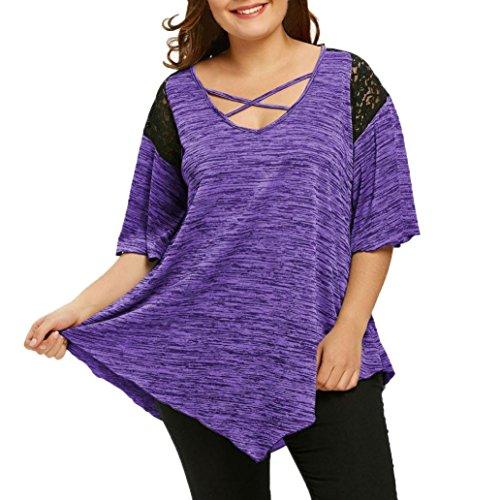 2c064a1c196a TUDUZ Elegant Oberteile Damen Aufflackernhülse Asymmetrische Tunika Spitze T -Shirt Bluse Top XL-XXXXXL