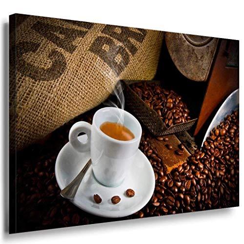 Kaffe Kaffebohnen Tasse Leinwandbild / LaraArt Bilder / Mehrfarbig + Kunstdruck XXL k71 Wandbild 100 x 70 cm