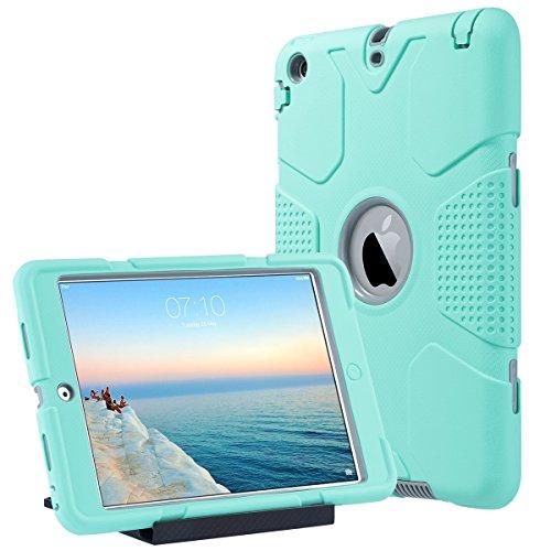 Shockproof Mini Cover Ipad (ULAK iPad Mini Hülle, iPad Mini 2/3 Hülle 3in1 Hybrid Case Cover Hochleistungs Shockproof Kickstand Abdeckung Fall für iPad Mini/iPad Mini 2/iPad Mini 3 (Minze + Grau))