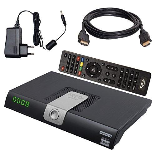HB DIGITAL DVB-T/T2 SET: Xoro HRT 8724 DVB-T/T2 Receiver + HDMI Kabel mit Ethernet Funktion und vergoldeten Anschlüssen (Full HD, HEVC/H.265, HDTV, HDMI, SCART, USB 2.0 DVBT DVBT2 DVB-T2)