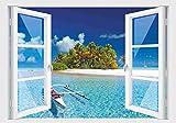 Stickerkoenig Wandtattoo Fenster 3D Optik Wandsticker Aufkleber Deko Bild Motiv Insel Traum
