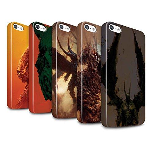 Offiziell Chris Cold Hülle / Glanz Snap-On Case für Apple iPhone SE / Pack 6pcs Muster / Wilden Kreaturen Kollektion Pack 6pcs