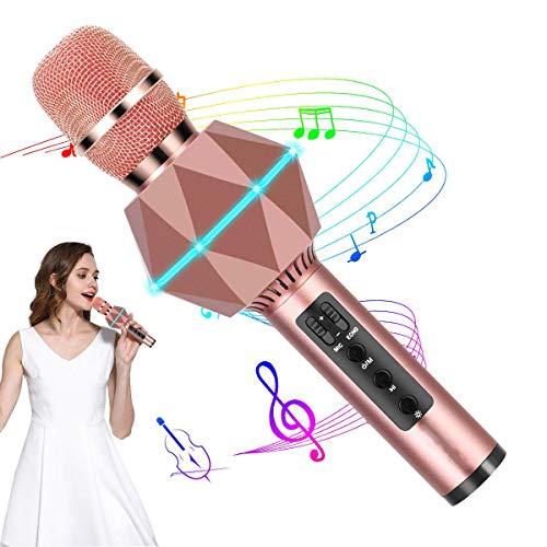 JASZW Karaoke Bluetooth mikrofon tragbare drahtlose Lautsprecher/drahtlose Karaoke mikrofon, Stimme wechsler mic für zuhause ktv Outdoor Party Kinder Erwachsene,3