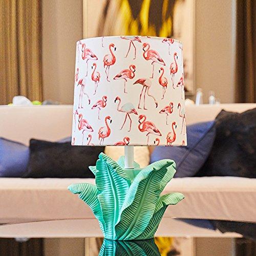 HM&DX Moderne Tischlampe Flamingo gedruckt Stoffschirm Harz-basis Bett nachttisch-lampe Dekoration Schreibtischlampe für Wohnzimmer Schlafzimmer Kinder-Weiß (Gedruckte Bett-set)