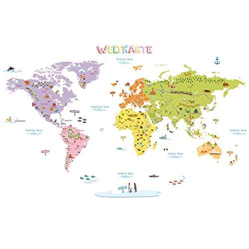 Euroart Tierweltkarte Tiere