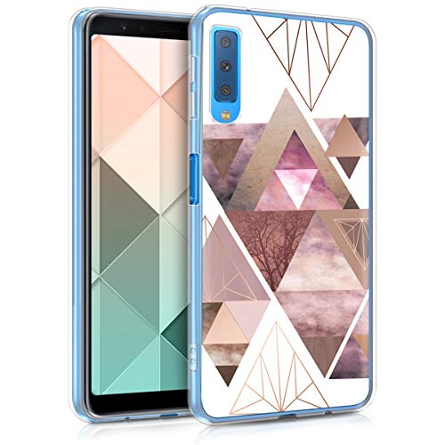 kwmobile Samsung Galaxy A7 (2018) Hülle - Handyhülle für Samsung Galaxy A7 (2018) - Handy Case in Glory Dreieck Muster Design Rosa Rosegold Weiß