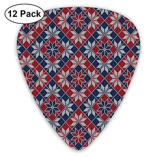 Camo Wool (Guitar Picks - Abstract Art Colorful Designs,Wool Knit Pattern With Tartan Geometric Stripes Flower Figures Print,Unique Guitar Gift,For Bass Electric & Acoustic Guitars-12 Pack)