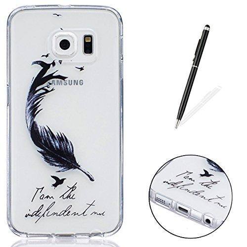 CaseHome Samsung Galaxy S6 Edge Silikon-Gel TPU Ultra Dünner Stilvoller Schöner Eleganter Netter Einzigartiger Prägeartiger Muster-Entwurf (mit freiem Griffel) Weicher Gummi-transparenter TPU Stoßdämp Vogelfeder # 3