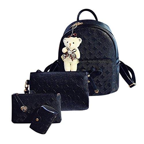 Malloom® Mode Leder Nette Schultertasche Schulrucksäcke Cardbags Für Frauen Mädchen Damenmode Rucksack Vier-Set + Messenger Bag + Clutch + Geldbörse (schwarz)