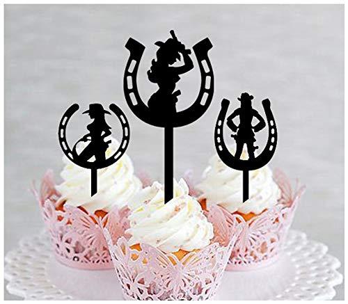 Topper, Hochzeit, Geburtstag, Party, schöne Cowgirls, Westernhufeisen, 10 Stück ()